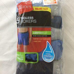 Hanes Tagless Boxers Size Med Pckg/5 Comfortsoft